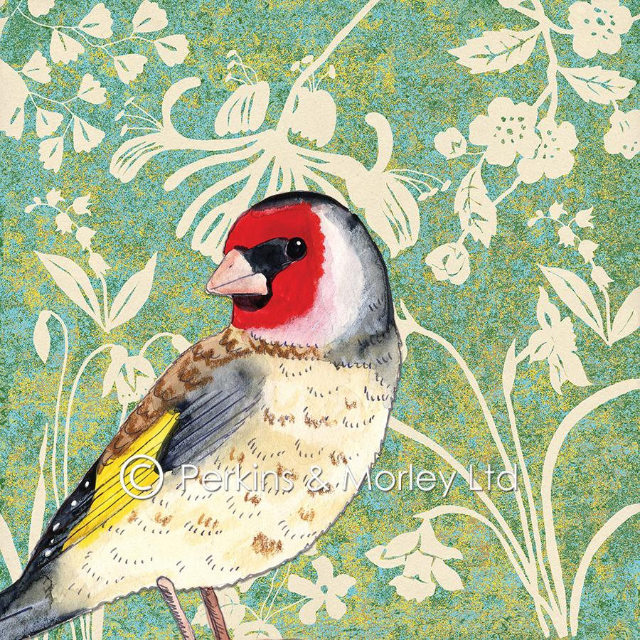 J2WW15-Background-leaves-flowers-with-Goldfinch-web