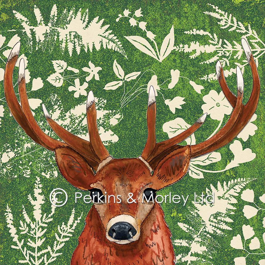 J2WW21-Background-leaves-flowers-with-Stag-web