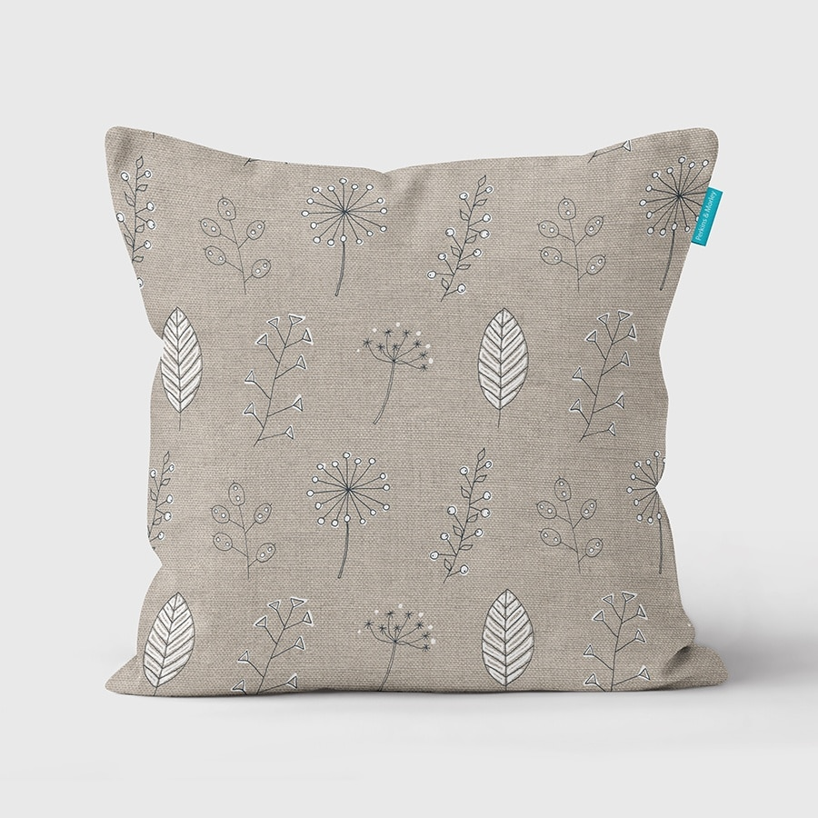 Cow Parsley & Leaves cushion | Seed Heads